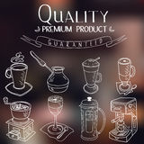 Hand drawn sketch doodle vintage simple coffee Royalty Free Stock Images