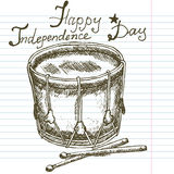 Hand drawn sketch drum, text happy independence day Stock Photography