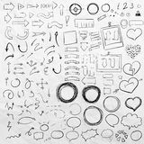Hand drawn sketch elements. Arrows, pointers, frames, speach bubbles and stripes, ribbons, hearts and round frames in one set royalty free illustration