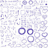 Hand drawn sketch elements. Arrows, pointers, frames, speach bubbles and stripes, ribbons, hearts and round frames in one set stock illustration