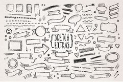 Hand drawn sketch elements. Hand drawn pen sketch elements. Vector illustration stock illustration