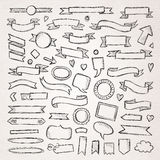 Hand drawn sketch elements. Hand drawn sketch hand drawn elements. Vector illustration royalty free illustration