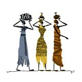 Hand drawn sketch of ethnic women with jugs Royalty Free Stock Photo