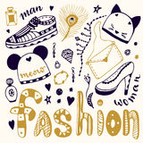 Hand drawn sketch fashion set. Shopping doodle icons collection. Man and woman shoes. Royalty Free Stock Photos