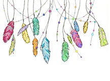 Hand drawn sketch feathers of dream catcher. stock images