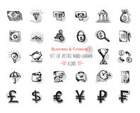 Hand-drawn sketch finance web icon set - economy, money, payments.With emphasis in round spots form. Isolated black on white  Royalty Free Stock Image