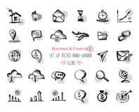 Hand-drawn sketch finance web icon set - economy, money, payments.With emphasis in round spots form. Isolated black on white  Stock Images