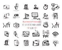 Hand-drawn sketch finance web icon set - economy, money, payments.With emphasis in round spots form. Isolated black on white. Hand-drawn sketch finance web icon Stock Photography