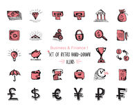 Hand-drawn sketch finance web icon set - economy, money, payments. Isolated black and red on white background Stock Photography