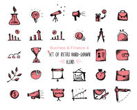 Hand-drawn sketch finance web icon set - economy, money, payments. Isolated black and red on white background Stock Photos