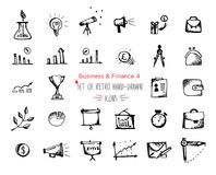 Hand-drawn sketch finance web icon set - economy, money, , payments. Hand-drawn sketch finance web icon set - economy, money, finance, payments. Vector Stock Image