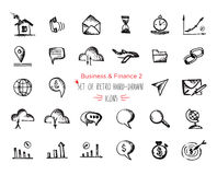 Hand-drawn sketch finance web icon set - economy, money, , payments Royalty Free Stock Photo