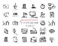 Hand-drawn sketch finance web icon set - economy, money, , payments Stock Image