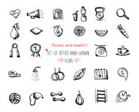 Hand-drawn sketch fitness and health icon set Stock Image