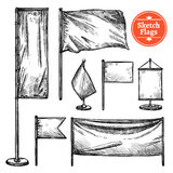 Hand Drawn Sketch Flags Set Stock Photos