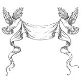 Hand Drawn Sketch of Flying Doves with Ribbon Stock Photos