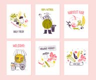 Vector set of hand drawn cards for food festival, farmers market and harvest fair with cute hand drawn sketch food elements. Vegetables, farmer, stall. Good vector illustration