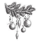 Hand drawn sketch Fur tree branch with New Year and Christmas decorations. design elements. Hand drawn sketch Fur tree branch with New Year and Christmas royalty free illustration