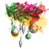 Hand drawn sketch Fur tree branch with New Year and Christmas decorations. element colorful watercolor blots. Hand drawn sketch Fur tree branch with New Year and vector illustration