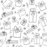 Hand drawn sketch gift boxes. Seamless pattern Royalty Free Stock Photo