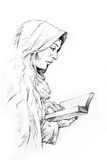 Hand-drawn sketch of a girl reading Stock Image