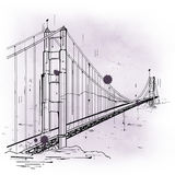 Hand drawn sketch of the Golden Gate Bridge Royalty Free Stock Photo