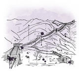 Hand drawn sketch of the Great Wall of China royalty free stock images