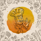 Hand-drawn sketch of a happy chef and the food. vector illustration Stock Photography