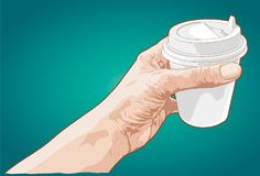 Hand holding paper cup of coffee Royalty Free Stock Images