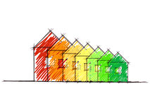 Hand drawn sketch of house energy efficiency Royalty Free Stock Images