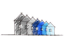 Hand drawn sketch of house environmental impact Stock Images