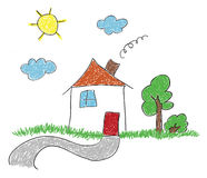 Hand drawn sketch house Stock Photo
