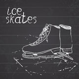 Hand drawn sketch ice skates. Drawing Sport doodle element winter sports items. on chalkboard background Royalty Free Stock Photo