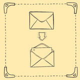Hand drawn sketch illustration - letter and envelope Royalty Free Stock Photos