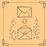 Hand drawn sketch illustration - love letter Stock Photography