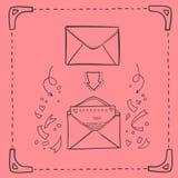 Hand drawn sketch illustration - love letter. Vector. Hand drawn sketch illustration - love letter vector illustration