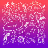 Hand drawn sketch illustration - Speech Bubbles Royalty Free Stock Photography