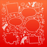 Hand drawn sketch illustration - Speech Bubbles Royalty Free Stock Images