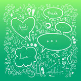 Hand drawn sketch illustration - Speech Bubbles.  Stock Photos