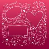 Hand drawn sketch illustration - Speech Bubbles. Love Royalty Free Stock Image