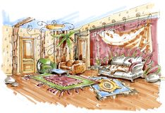 Hand drawn sketch of a jungle style playroom interior royalty free illustration