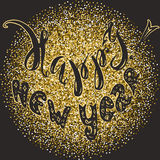 Hand drawn sketch, lettering happy new year on a gold glitter. Background, template of  a New Year`s greetings Stock Images
