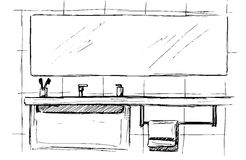Hand drawn sketch. Linear sketch of an interior. Part of the bathroom. Vector illustration. Stock Photos
