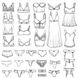 Hand drawn sketch Lingerie set. Fashion feminine vector icon illustration. Sexy lacy woman underwear symbol collection.