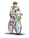 Hand drawn sketch of a man rides on a mountain bike Royalty Free Stock Image