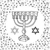 Hand drawn sketch of menorah traditional Jewish religious symbols, Rosh Hashanah, Hanukkah, Shana Tova, vector illustration on orn Stock Photography