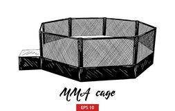 Hand drawn sketch of mma cage in black isolated on white background. Detailed vintage etching style drawing. vector illustration