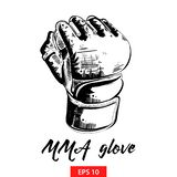 Hand drawn sketch of mma glove in black isolated on white background. Detailed vintage etching style drawing. vector illustration