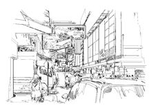 Hand drawn sketch of modern cityscape,urban city street Royalty Free Stock Photography