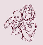 Hand drawn sketch mother and baby. Vector Stock Photography